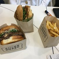 Super Burger, chicken sandwich, fries