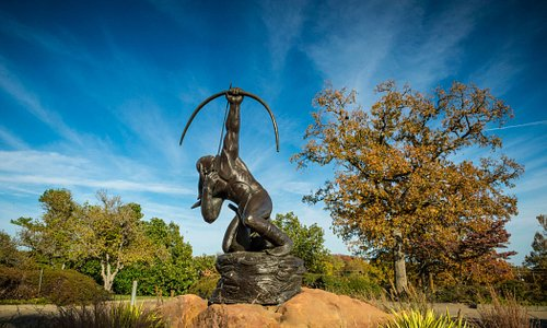 """Sacred Rain Arrow"" at Gilcrease Museum entrance."