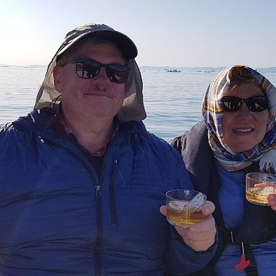 Whisky on the rocks after fishing.