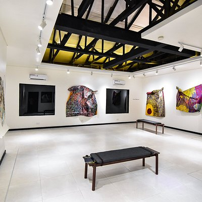 """View of upstairs Gallery at Retro Africa during """"Masters and Contemporaries"""""""