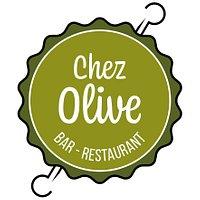 Logo de Chez olive à l'image de notre spécialité, la brochette