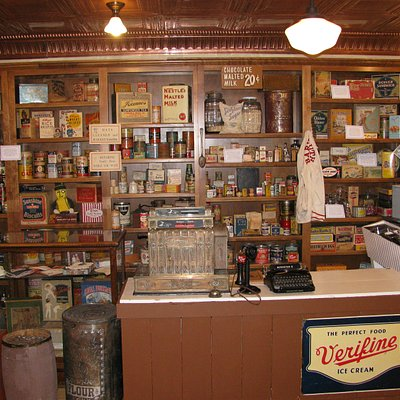 This is our permanent exhibit featuring the general store collection of Roger C. Christensen.
