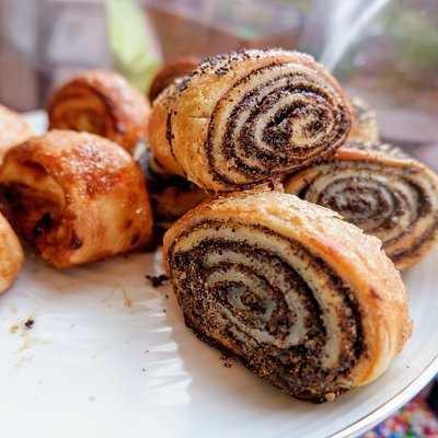 Fresh made chocolate rolls from a Jewish Bakery.