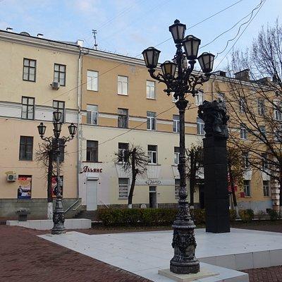 Тверь. Бюст-памятник А.С.Пушкину на Театральной площади (19 ноября 2019 года)
