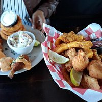 Shrimp panchos and Fried fish and chicken basket. Both with onion rings too.