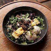 Wild Mushrooms, Baked Ricotta, Rocket, Almonds, Poached Eggs