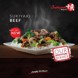 Come to the Sukiyaki Express to taste the delicious Sukiyaki Beef with mix vegetables, mushrooms and teriyaki sauce combined in one plate.  Location: 3rd floor Chip Mong Noromall, Norodom Blvd (corner st. 360 and st. 370), Sangkat Boeng Keng Kong I, Khan Chamkarmorn, Phnom Penh, Cambodia.