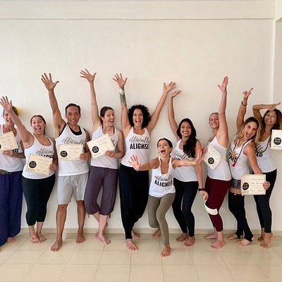 They did it! Current November 2019 grads of the Aligned Flow Method 200hr Yoga Teacher training immersion hosted at the studio. Congrats, teachers!