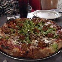 Sausage pizza with green peppers