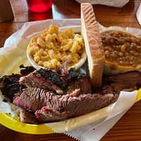 Beef Brisket with Baked Beans and Mac & Cheese