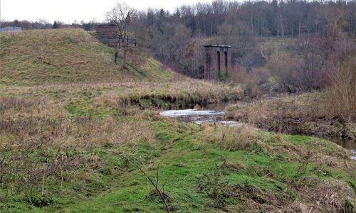 Pillars of the old railway viaduct