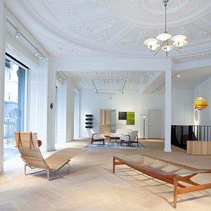Dansk Møbelkunst: Copenhagen Gallery. Works shown by Poul Kjærholm, Finn Juhl, Poul Henningsen, Helge Vestergaard Jensen among others.