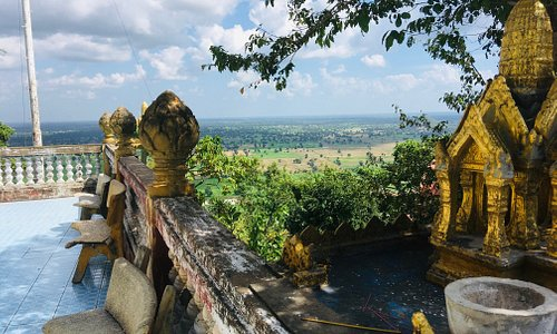 The buddhist temple on the mountain of the bat caves in Battambang province, Cambodia.
