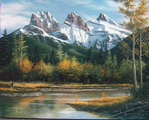 """This is the iconic """" Three Sisters"""" painted by Fred Buchwitz who is primarily an Oil on canvas painter. This is the most recognizable set of mountains in Canmore and the view right outside both of our gallery locations !"""
