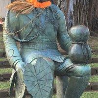 Close up of King David Kalalaua Statue.