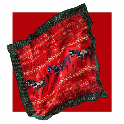 silk scarf with Armenian traditional ornaments