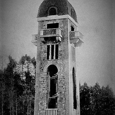 \wieża Bismarcka (fragment przedwojennej pocztówki)