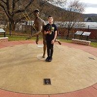 Logan posing with Lefty Grove