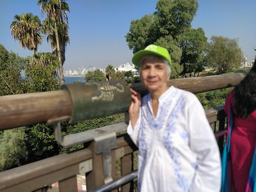 With own Pices, zodic sign. On wishing bridge. Old Jaffa  City