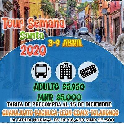 ↗️↗️Las mejores vacaciones se viven viajando y que mejor manera de hacerlo con nosotros **** Yeriko Viajes Mérida ***↗️↗️  🎊Visitando Tolantongo - Pachuca - CDMX - León - zona de piel- Guanajuato🎊 ****************03-09 de Abril de 2020 **********  🚩🚩🚩Precio de promoción con precompra al 15 de diciembre🚩🚩🚩 👣Adulto $5,950 👣Menor $5,000  Tarifas después de la precompra $6,450 mnr $5,500 Puedes apartar con $500 p/p y pagar cómodamente.  Incluye: 🚐Transporte redondo en Autobús de 1a clase