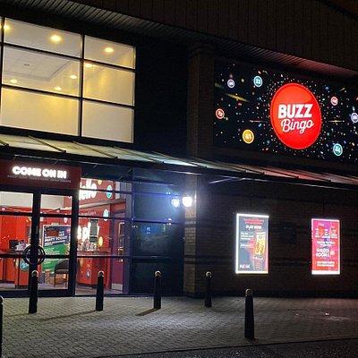 Main Entrance, lit up at night