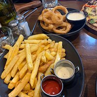 Fries and onion rings were huge - we couldn't finish them