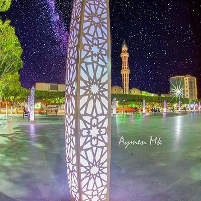 Place of freedom is a nice square where you can enjoy the beautiful views of fountains with different lights by night, in the middle the names of the martyrs of the city are engraved on stone to immortalize their sacrifice for the freedom of Algeria, land of Amazigh (free People), on the back of it a nice artistic work of Denis Martinez, a native artist painter from Blida. On the right side of the square, another artistic work about the Algerian Revolution. In day time, the place is crowded.