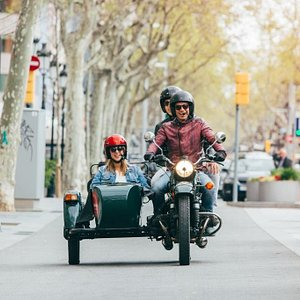 Touring Barcelona on a sidecar motorcyle. BrightSide Tours Barcelona.