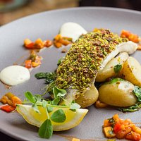 Cranberry and Pistachio crusted Fillet of Seabass