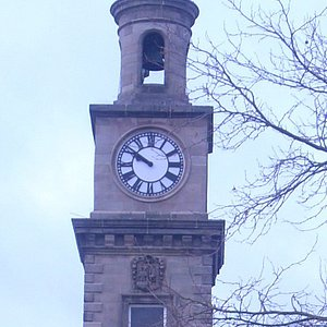 The clock tower on the guild hall. Sometimes it tolls the wrong time.