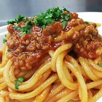 Fresh spaghettoni with our homemade vegan ragu.