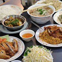 Famous Beef Pho Noodle, Beef Fried Rice, Crispy Chicken and Tomato Rice, Pork Chops and Tomato Rice