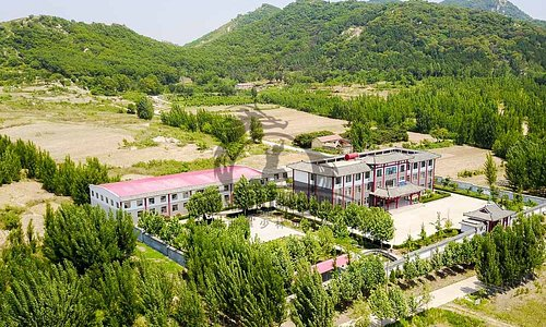 Front view of Qufu Shaolin Kung Fu School in China