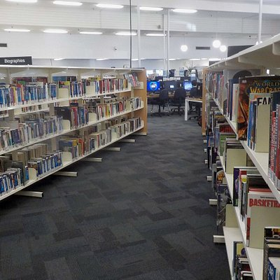 many shelves for books, but other media available
