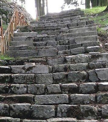 сохранившаяся лестница в парке Жупа