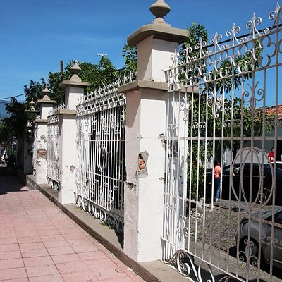 Decorative old massive fencing around the church grounds