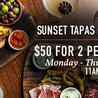 SUNSET TAPAS $50 for 2 people Monday-Thursday 11AM -  5PM