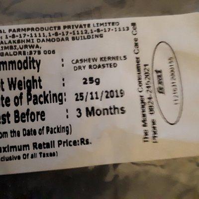 Etichetta del pacchetto di anacardi offerto dallo stabilimento