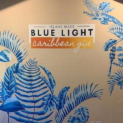 Blue Light Caribbean Gin Distillery Wall Mural