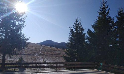 Ispolin peak 1524m highest peak in Shipka area, view from Edelvais hotel terrace!