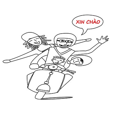 Our Logo is about a typical way of riding of A Vietnamese family saying Hello