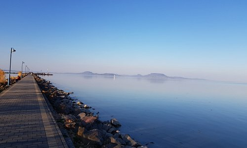 Welcome to Balatonmariafurdo. Let's have a walk on the pier!