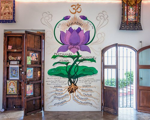 This is the flower of yoga in davannayoga's shala. It's always a favorite of our students, to have their photo taken in a pose in front of the flower of yoga.  photo credit: josef kandoll wepplo photography