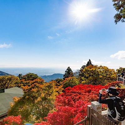 大山阿夫利神社下社からの眺望(紅葉)