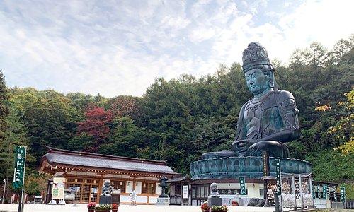 青森市郊外、桑原の地に横たわる稲山は、春には山桜と新緑がみごとな彩りをなし秋には錦を織りなす。まるで天然の屏風のよう。その稲山の眼下には日本の原風景を思わせる田園風景が広がっています。  日本最大の青銅坐像仏、昭和大仏はこの豊かな自然に囲まれた稲山の中腹に鎮座しています。境内地には東日本最大の木造五重塔が屹立し、金堂、開山堂、大師堂、書院が甍を並べ、広大な枯山水庭園「忘帰庭」が訪れる人に落ち着きを与えてくれます。青龍寺伽藍の多くは天然青森ひばを資材に用い、青森の名工、大室勝四郎棟梁が持てる技量を尽くしました。  「伽藍が無言の説法をする」開基織田隆弘師の熱い信念がこの霊場を開き、今もなお全山を満たしています。  日々の喧噪を離れた心静かな時を求めて、国内はもとより世界各国から参拝者が訪れています。