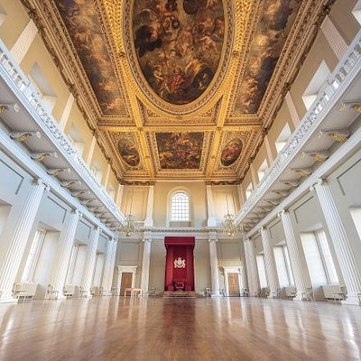 A view of the great hall and its ceiling decorated with paintings by Sir Peter Paul Rubens, at Banqueting House.