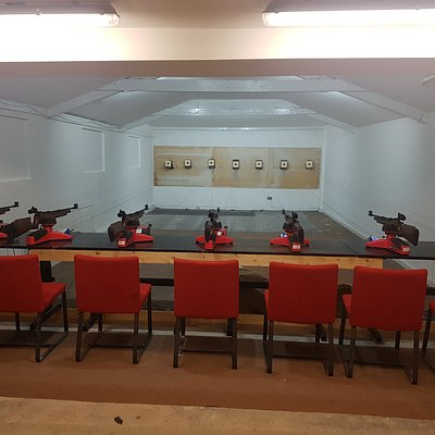 10m range with 7 firing points all set up for a group to try Air Rifle Target shooting. We also do Air Pistol shooting