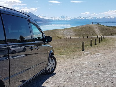 On tour and looking at Aoraki Mount Cook from the top of Lake Pukaki. For South Island of New Zealand personal tours fro 1 to 6 passengers please contact us. Thanks Mike