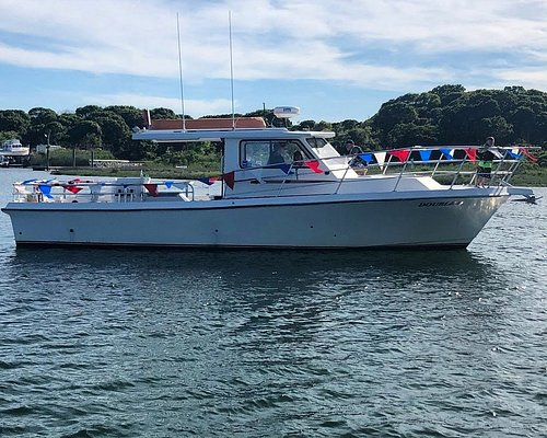 The new Double D is 38' long by 14' wide. She is USCG inspected to carry up to 15 passengers. Full bathroom with a fresh water sink, microwave and coffee pot aboard for your convenience.