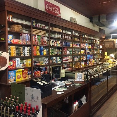 Find the original carpentry shelves stocked with a unique offering of gourmet, gift and grocery items.